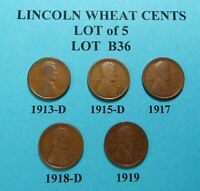 1913-D 1915-D 1917 1918-D 1919  LOT OF 5 LINCOLN WHEAT CENTSCOMB.SHIP LOT B36