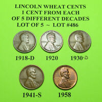 1918-D 1920 1930-D 41-S 58  5 LINCOLN WHEAT CENTS FROM 5 DIFF. DECADES LOT A486