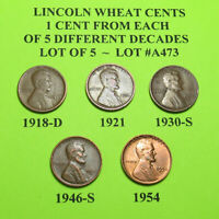 1918-D 21 30-S 46-S 54  5 LINCOLN WHEAT CENTS FROM 5 DIFF. DECADES LOT A473