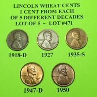 1918-D 27 35-S 47-D 50  5 LINCOLN WHEAT CENTS FROM 5 DIFF. DECADES LOT A471