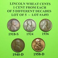 1918-S 1924 36 1940-D 58-D  5 LINCOLN WHEAT CENTS FROM 5 DIFF. DECADES LOT A493