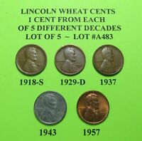 1918-S 1929-D 1937 1943 57  5 LINCOLN WHEAT CENTS FROM 5 DIFF. DECADES LOT A483