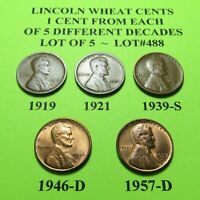 1919 1921 1939-S 46-D 57-D  5 LINCOLN WHEAT CENTS FROM 5 DIFF. DECADES LOT A488