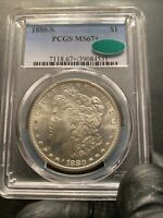1880 S MORGAN SILVER DOLLAR $1 MS 67  CAC PCGS   WHITE BEAUT