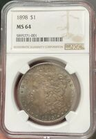 1898-P PHILLY MORGAN SILVER DOLLAR - NGC MINT STATE 64 - SUPER THICK LUSTER  COLOR - PQ
