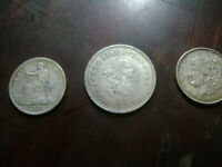 THREE DIFFERENT SILVER COINS FROM  1804-1817