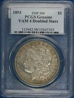 1893-P MORGAN DOLLAR. VAM-4 DOUBLED STARS. PCGS GENUINE.  ET2754/BEN