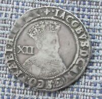 JAMES I SILVER SHILLING 1622 1ST COINAGE MM LIS