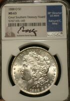 1888 O MORGAN SILVER DOLLAR  NGC MINT STATE 63  GREAT SOUTHERN TREASURY HOARD  SIGNED
