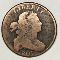 1801 DRAPED BUST LARGE CENT S-219 3 ERRORS REVERSE