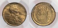 1917-S LINCOLN WHEAT CENT PCGS MINT STATE 63RB WOODY WOODGRAIN  EYE APPEAL AND COLOR