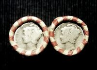1 ROLL EACH 1955 D AND 1957 D LINCOLN WHEAT PENNIES W/MERCURY DIME ON SEALED END