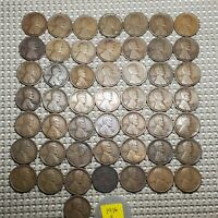 FULL ROLL OF 50 LINCOLN WHEAT CENT COPPER COINS 1916 S CIRCULATION STRIKES