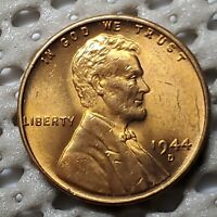 1944 D 1 COPPER WHEAT CENT MAGNIFICENT UNC RED RD LUSTER