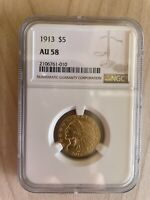 $5 GOLD INDIAN HALF EAGLE COIN 1913 NGC AU58