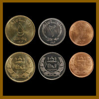 AFGHANISTAN 1 2 5 AFGHANIS  3 PCS COIN SET  2004 MOSQUE FLAG UNC