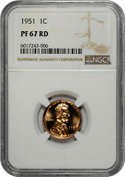 1951 PROOF 1C LINCOLN WHEAT CENT NGC PF 67 RD