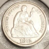 1871 SEATED LIBERTY HALF DIME - ABOUT UNCIRCULATED CONDITION - BEAUTIFUL AU COIN