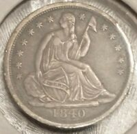 1840 SEATED LIBERTY HALF DIME NO DRAPERY - EXTRA FINE/ABOUT UNCIRCULATED EXTRA FINE /AU