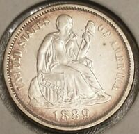 1889 SEATED LIBERTY DIME - ABOUT UNCIRCULATED AU CONDITION - LEGEND OBVERSE