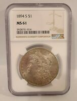 MORGAN SILVER DOLLAR 1894 S NGC MINT STATE 61
