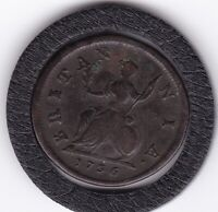 SHARP   1736    KING    GEORGE   II   COPPER  FARTHING  COIN