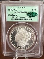 1880-CC $1 SILVER MORGAN DOLLAR PCGS MINT STATE 63 DMPL 8/LOW 7. CAC. STUNNING COIN