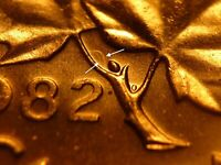 DOUBLE DIE CLASH   CANADA 1982 BU RED 1 CENT