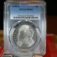 1900-S MORGAN SILVER DOLLAR - PCGS MINT STATE 64 -  EYE APPEAL - SHIPS FREE