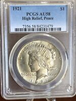 1921 PEACE DOLLAR $1 US SILVER HIGH RELIEF CERTIFIED PCGS AU