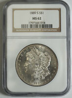 1889-S MORGAN SILVER DOLLAR NGC MINT STATE 62 306018