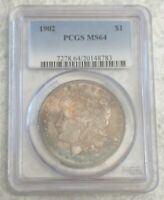 1902 P MORGAN SILVER DOLLAR - PCGS MINT STATE 64 - BEAUTIFULLY TONED UNCIRCULATED COIN