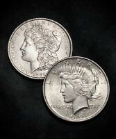1889-P MORGAN SILVER DOLLAR AND 1924-P PEACE SILVER DOLLAR SETGREAT PRICE