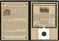 FIRST NEW YORK PENNY VOC COPPER DUIT COLONIAL COIN 1726 1794