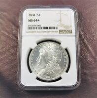 1884 P MORGAN DOLLAR MINT STATE 64 NGC  STUNNING PLUS COND COIN GEM  SHIPS FREE