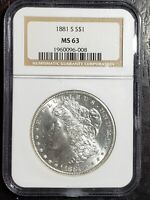 BEAUTIFUL 1881 S MORGAN SILVER DOLLAR NGC GRADED MS 63
