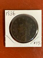 1836 US CORONET HEAD LARGE CENT  COIN