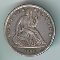 1840 P U.S. SEATED LIBERTY HALF DOLLAR   SILVER   CLEANED
