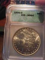MORGAN SILVER DOLLAR 1900-0 ICG MINT STATE 64