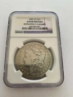 1 1892 CC CLEANED - GOOD DETAILS MORGAN SILVER DOLLAR NGC GRADED COIN