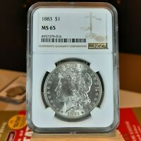 1883 MORGAN SILVER DOLLAR $1  MINT STATE 65  NGC CERTIFIED