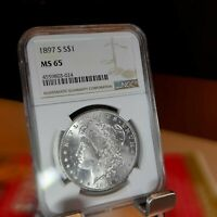 1897-S MORGAN SILVER DOLLAR $1  MINT STATE 65  NGC CERTIFIED