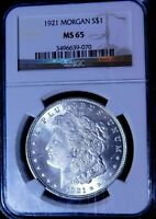 1921 MORGAN SILVER DOLLAR  NGC MINT STATE 65  CENTURY ANNIVERSARY  BLAZING WHITE