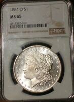 1884 O MORGAN SILVER DOLLAR  NGC MINT STATE 65  GORGEOUS  PROOF LIKE LOOKING