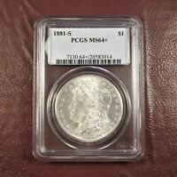 1881 S MORGAN DOLLAR MINT STATE 64 PCGS  STUNNING PLUS CONDITION WHITE  SHIP FREE