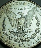 1883 S AU/ UNC MORGAN SILVER DOLLAR/ CHEST FEATHERS HARD THIS . 506