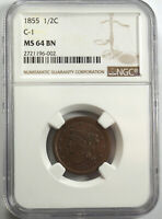 1855 BRAIDED HAIR HALF CENT, C-1 NGC MINT STATE 64BN 196002