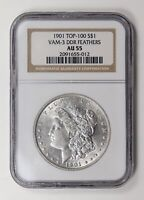 MORGAN SILVER DOLLAR 1901 P NGC AU-55   VAM-3 DDR FEATHERS
