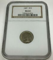 1881 THREE CENT NICKEL GRADED & CERTIFIED NGC MS64   100  ORIGINAL COIN  NICE
