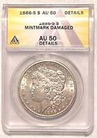 1886-S MORGAN SILVER DOLLAR GRADED BY ANACS AS AN AU-50 DETAILS-MM DAMAGED
